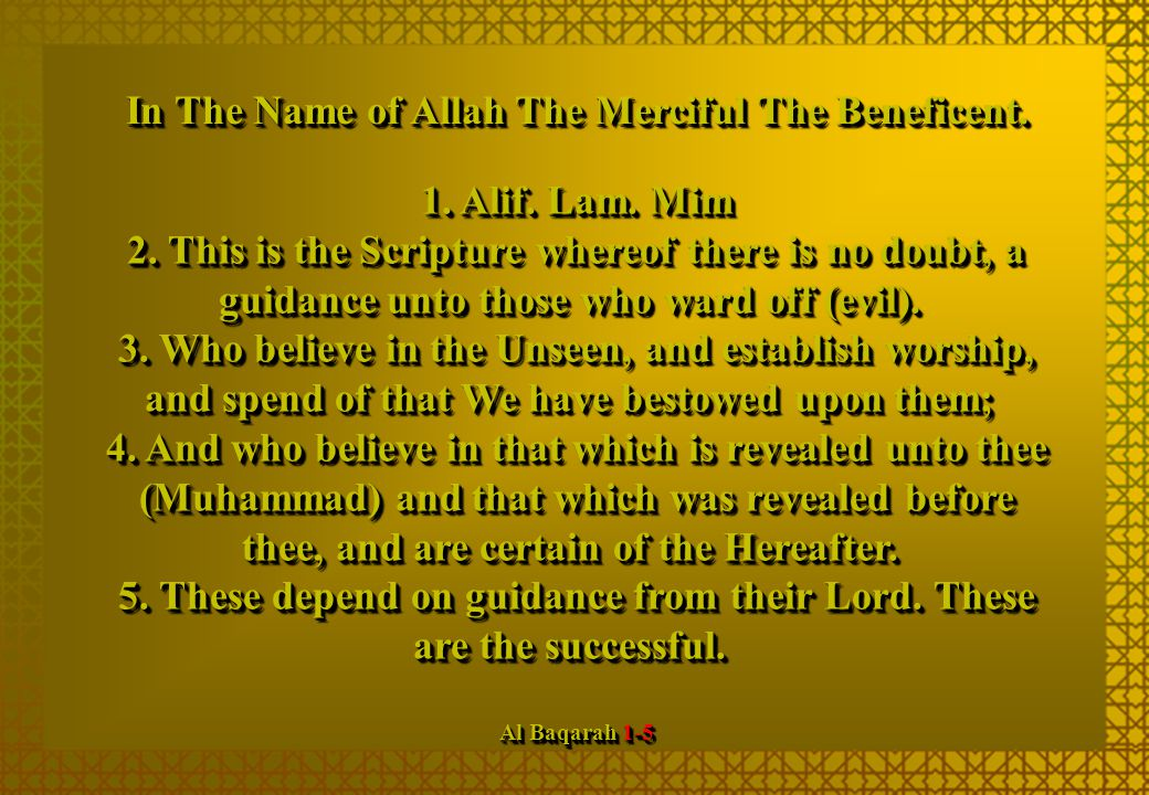 5. These depend on guidance from their Lord. These are the successful.