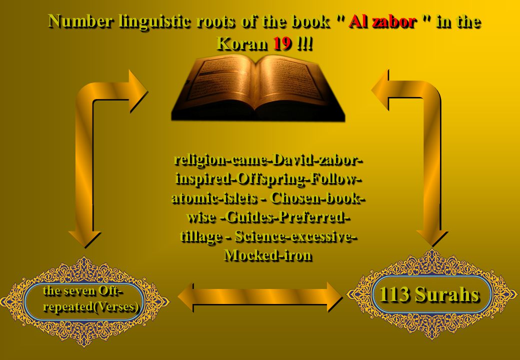 Number linguistic roots of the book Al zabor in the Koran 19 !!!