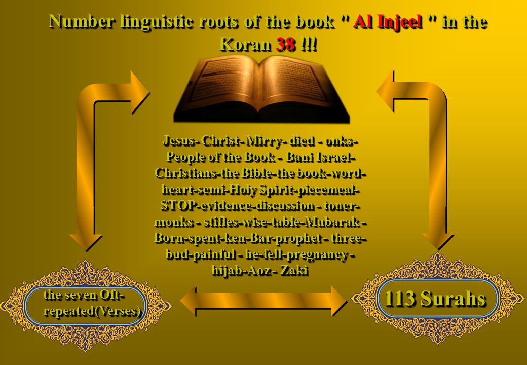 Number linguistic roots of the book Al Injeel in the Koran 38 !!!