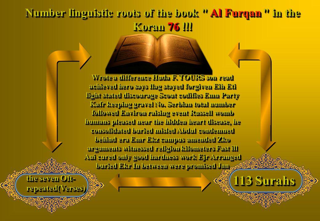 Number linguistic roots of the book Al Furqan in the Koran 76 !!!