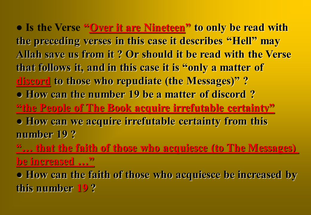 Is the Verse Over it are Nineteen to only be read with