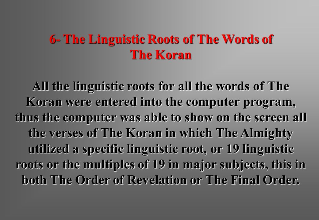6- The Linguistic Roots of The Words of
