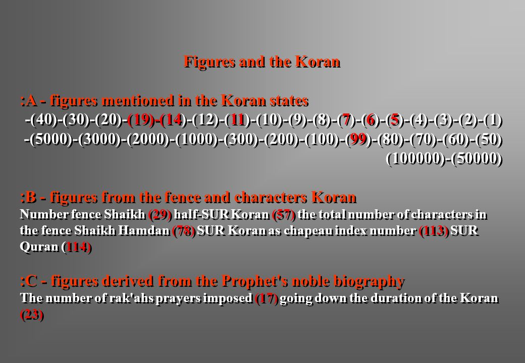 A - figures mentioned in the Koran states: