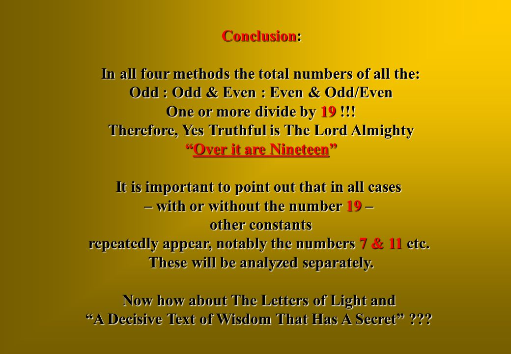 In all four methods the total numbers of all the:
