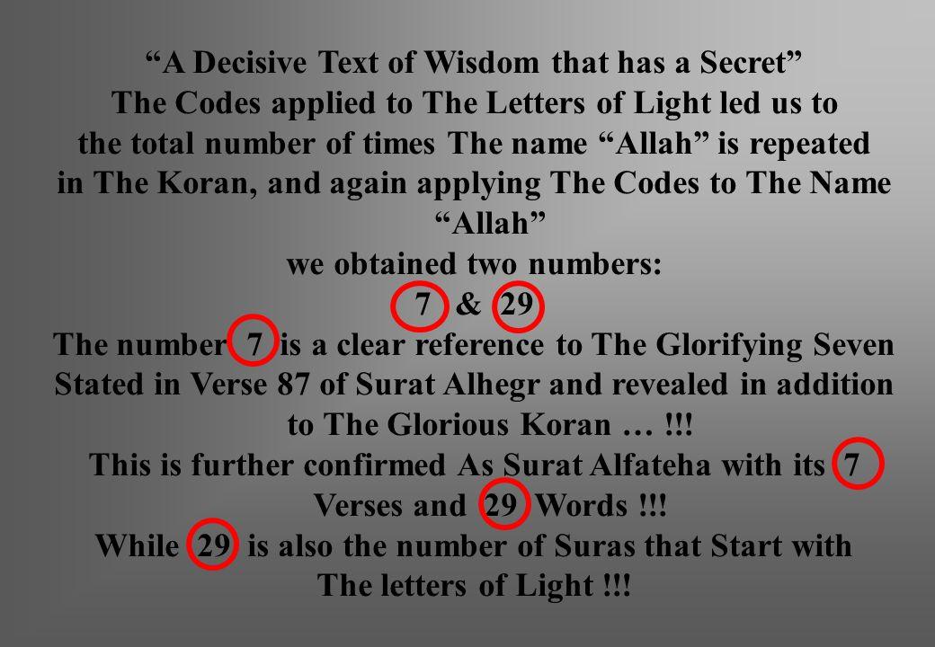 A Decisive Text of Wisdom that has a Secret