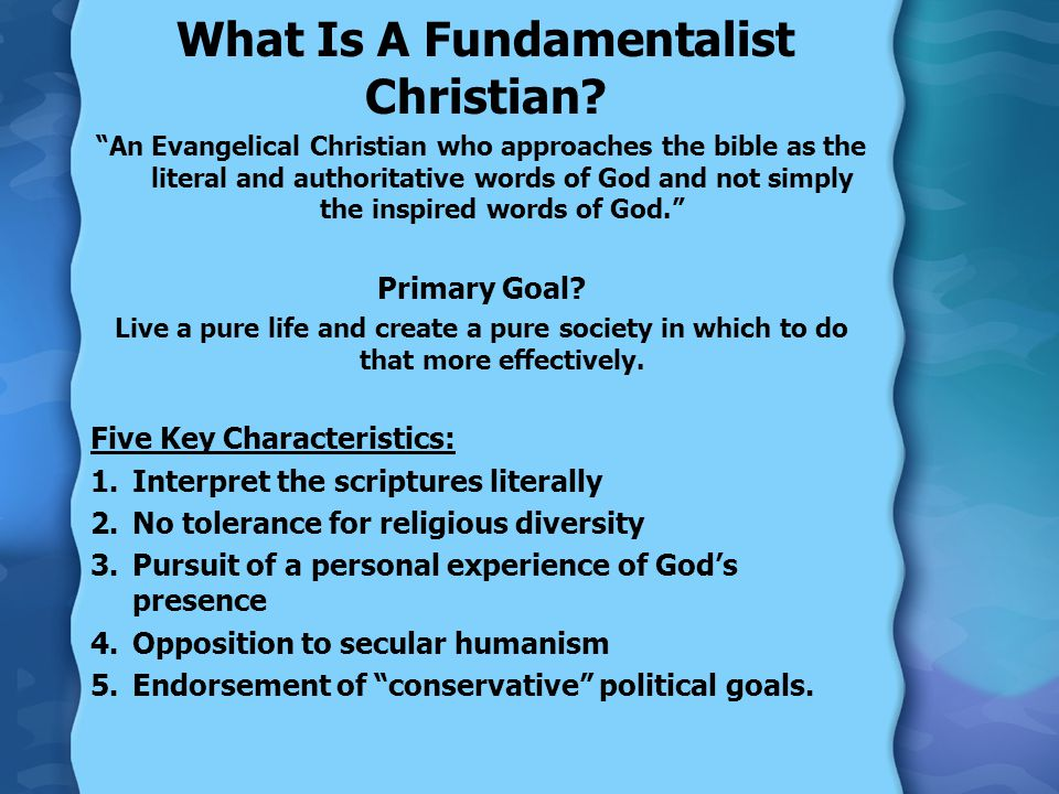 What Is A Fundamentalist Christian