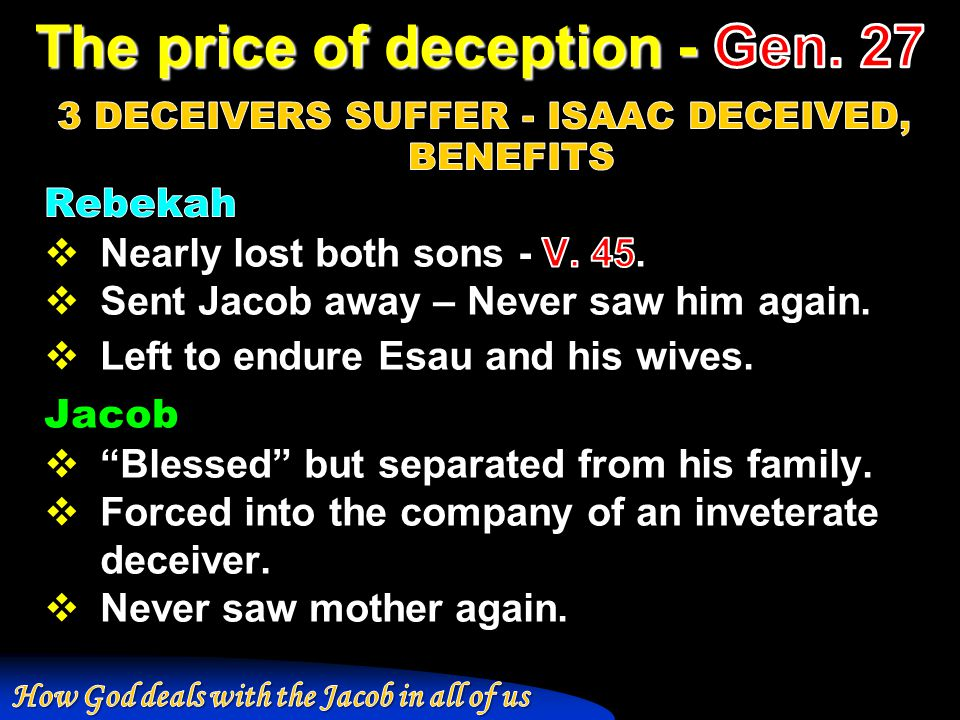 The price of deception - Gen. 27