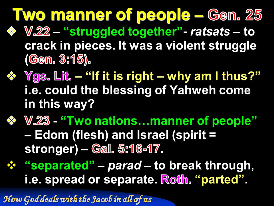 Two manner of people – Gen. 25