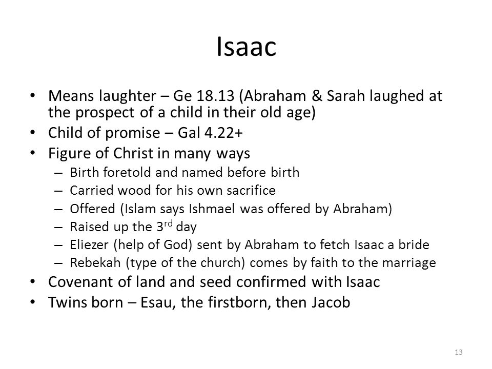 Isaac Means laughter – Ge 18.13 (Abraham & Sarah laughed at the prospect of a child in their old age)