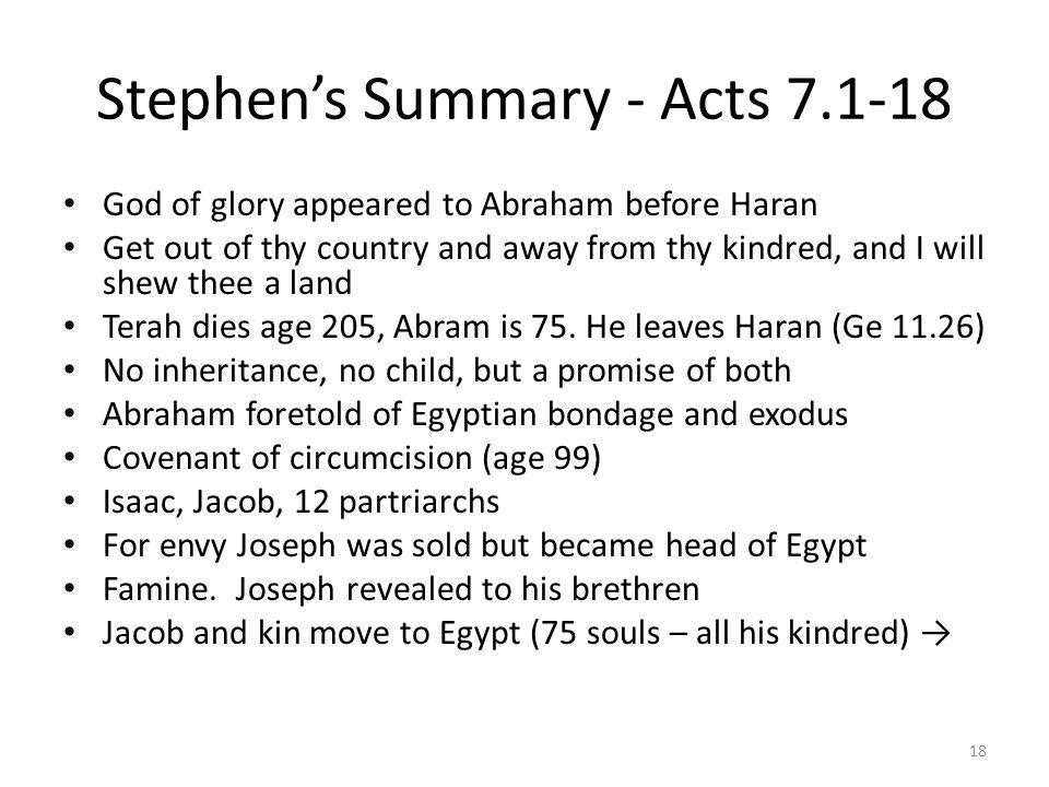 Stephen's Summary - Acts 7.1-18