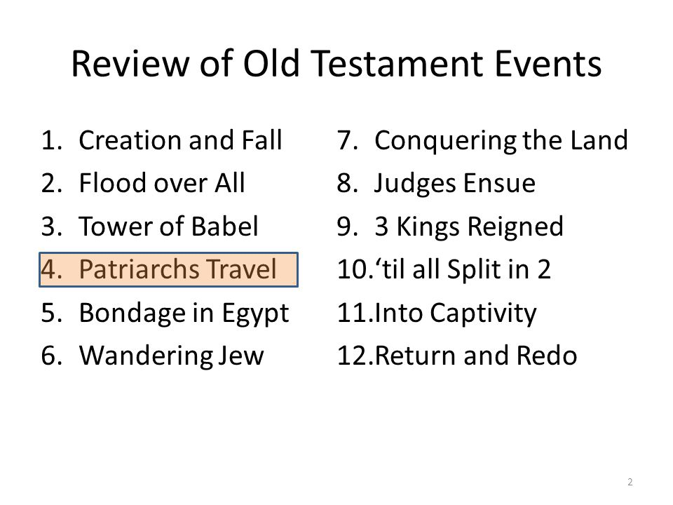 Review of Old Testament Events