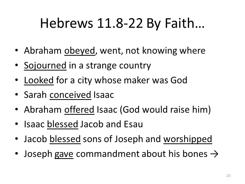 Hebrews 11.8-22 By Faith… Abraham obeyed, went, not knowing where