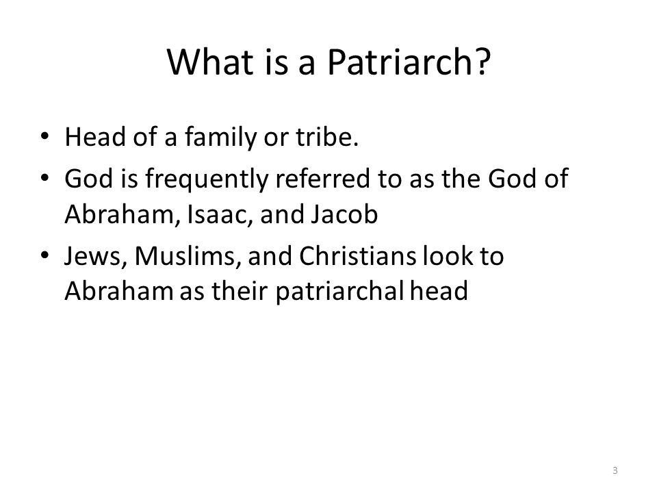 What is a Patriarch Head of a family or tribe.