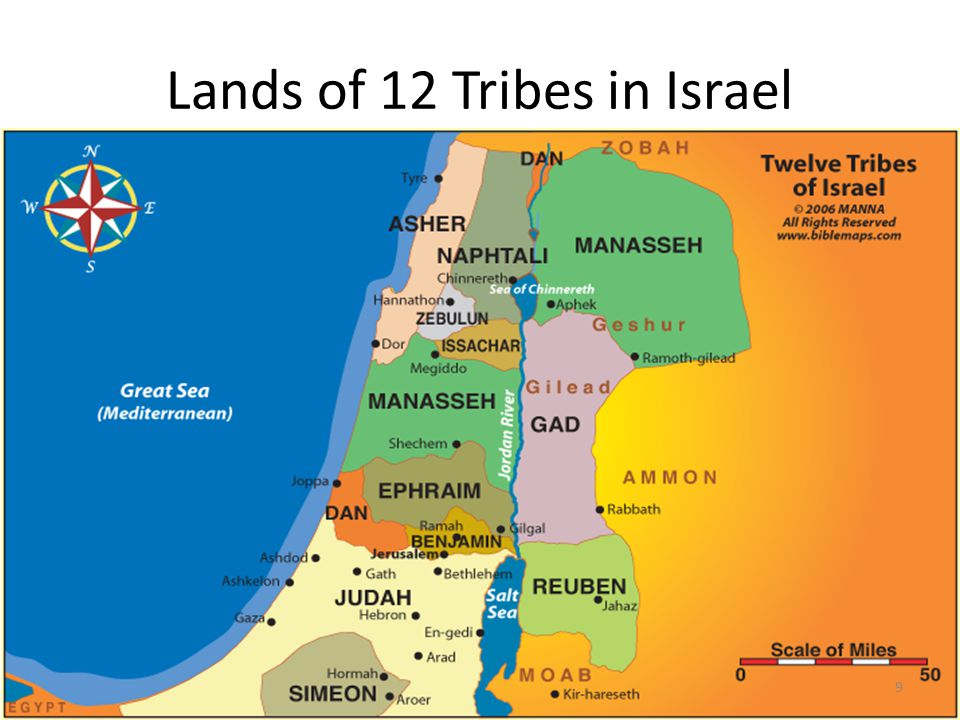 Lands of 12 Tribes in Israel