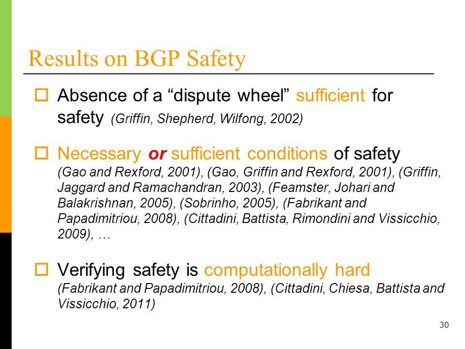 Results on BGP Safety Absence of a dispute wheel sufficient for safety (Griffin, Shepherd, Wilfong, 2002)