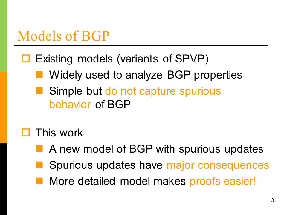 Models of BGP Existing models (variants of SPVP)