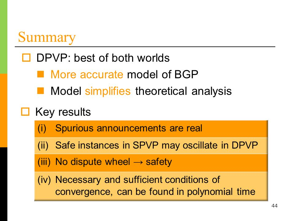 Summary DPVP: best of both worlds More accurate model of BGP