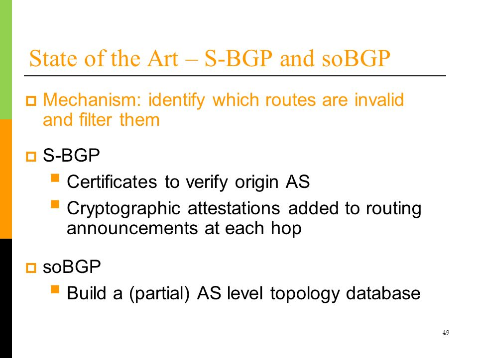 State of the Art – S-BGP and soBGP