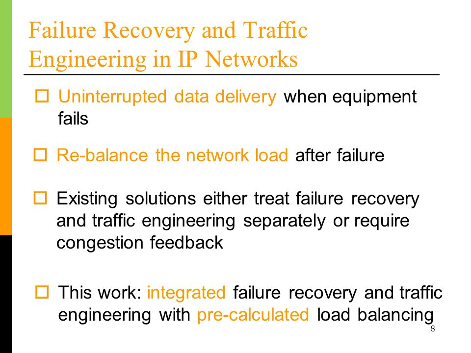 Failure Recovery and Traffic Engineering in IP Networks