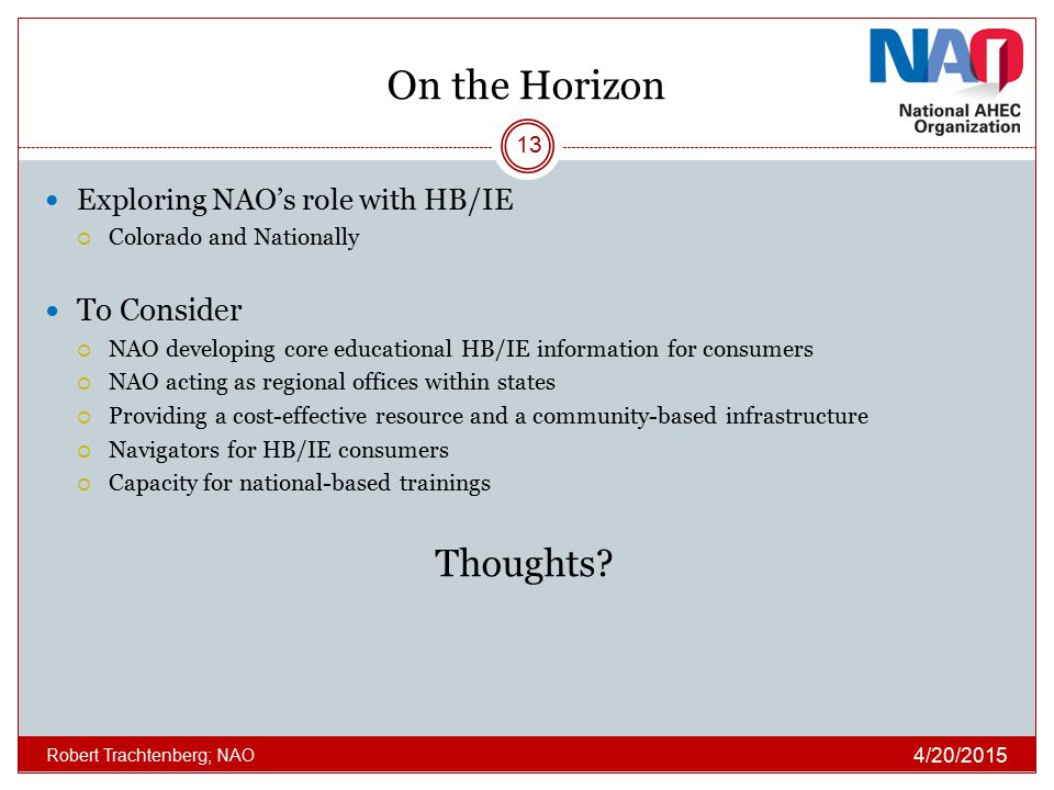 On the Horizon Thoughts To Consider Exploring NAO's role with HB/IE