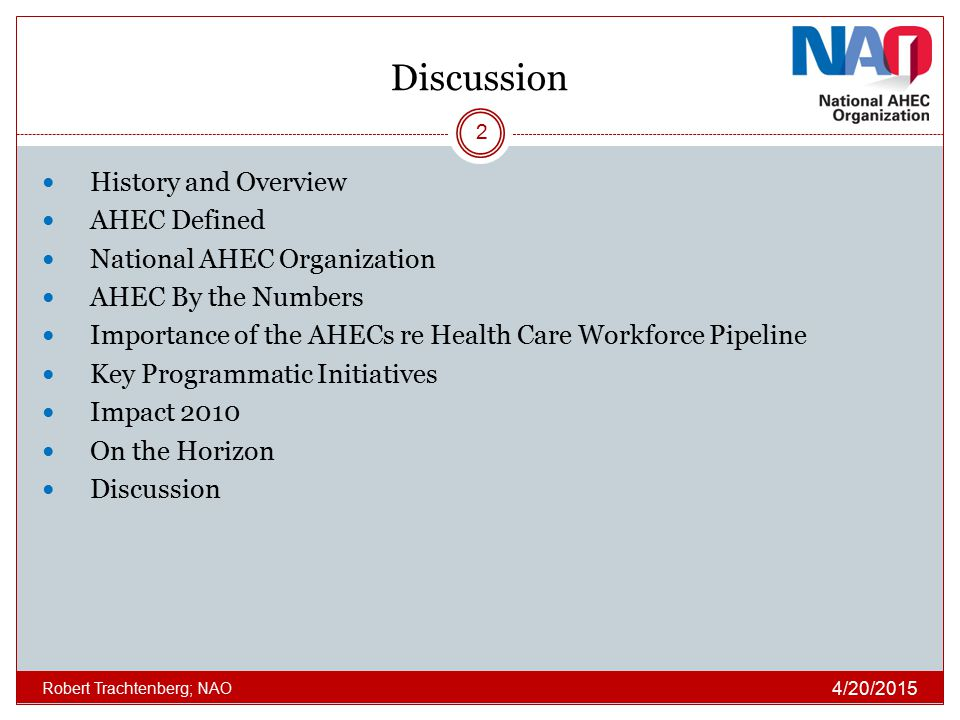 Discussion History and Overview AHEC Defined
