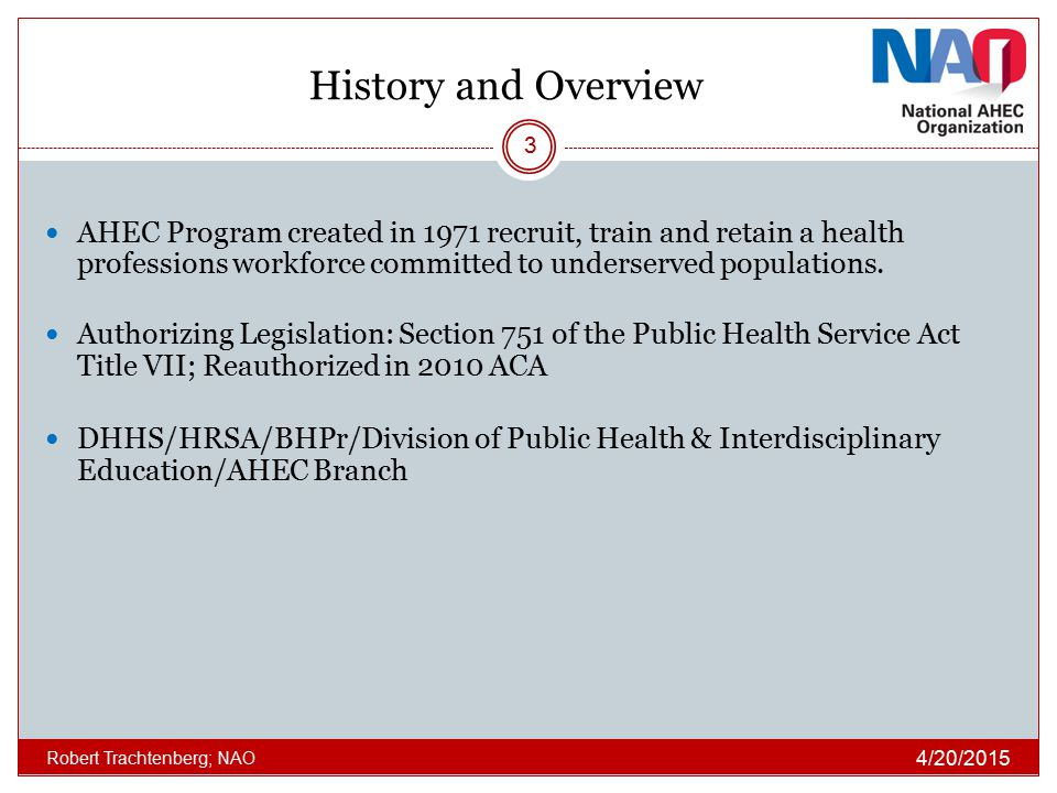 History and Overview AHEC Program created in 1971 recruit, train and retain a health professions workforce committed to underserved populations.