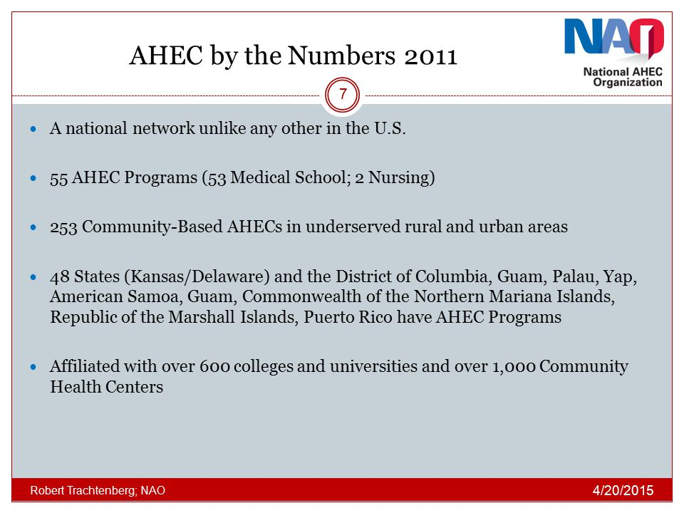 AHEC by the Numbers 2011 A national network unlike any other in the U.S. 55 AHEC Programs (53 Medical School; 2 Nursing)