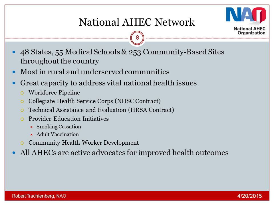 National AHEC Network 48 States, 55 Medical Schools & 253 Community-Based Sites throughout the country.
