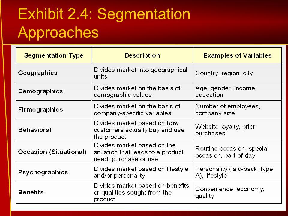 Exhibit 2.4: Segmentation Approaches