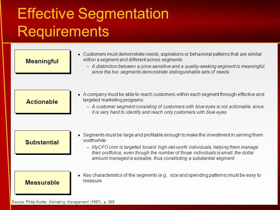 Effective Segmentation Requirements