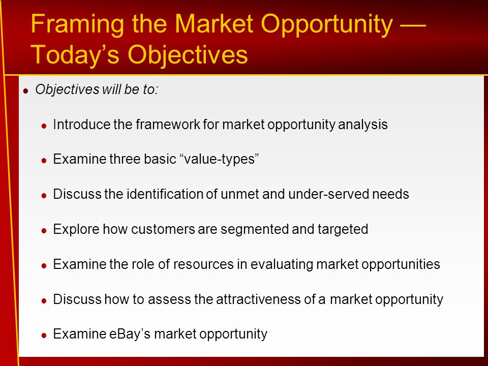 Framing the Market Opportunity — Today's Objectives