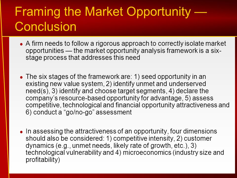 Framing the Market Opportunity — Conclusion