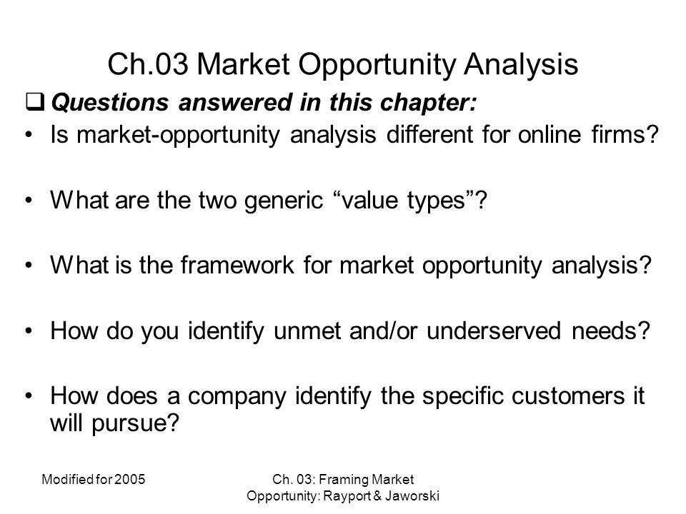 Ch.03 Market Opportunity Analysis