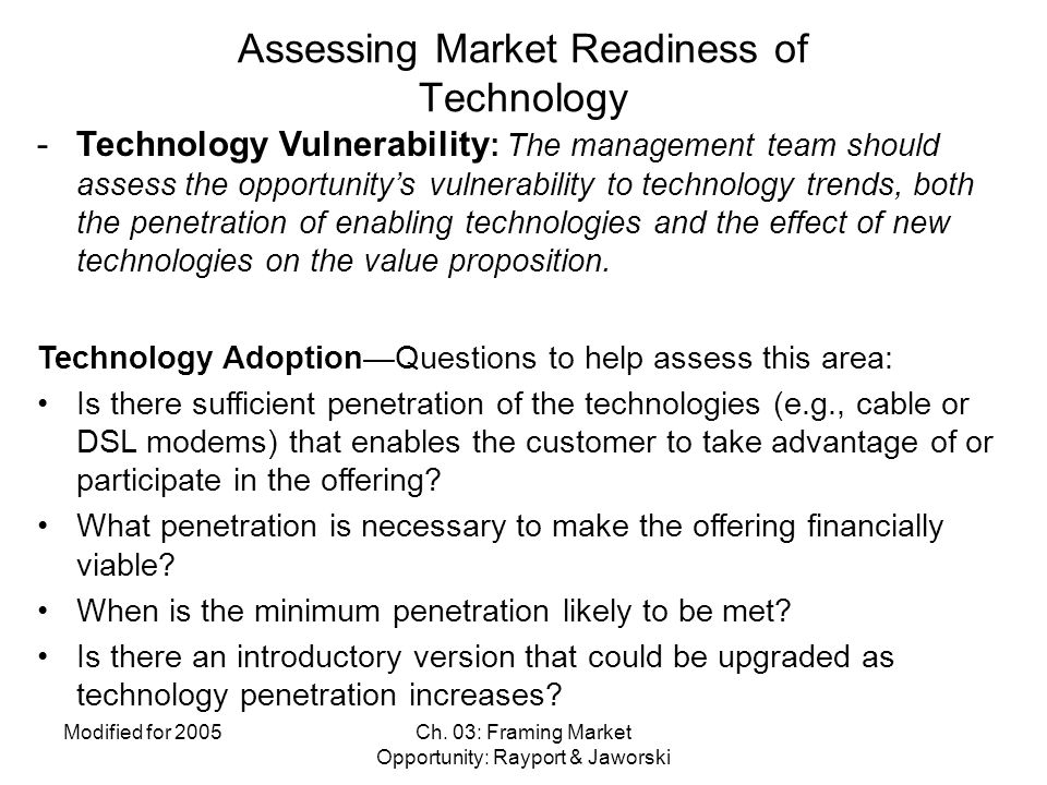 Assessing Market Readiness of Technology