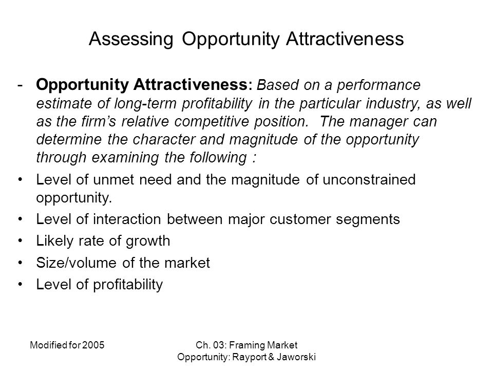 Assessing Opportunity Attractiveness