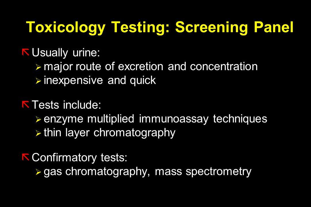 Toxicology Testing: Screening Panel