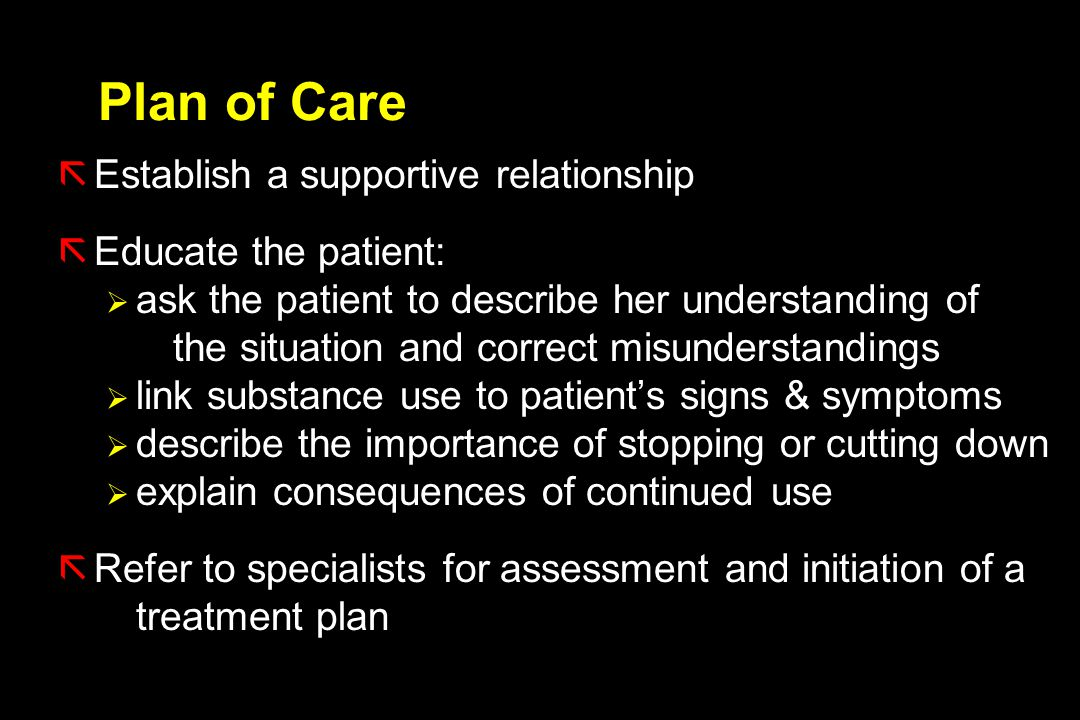 Plan of Care Establish a supportive relationship Educate the patient: