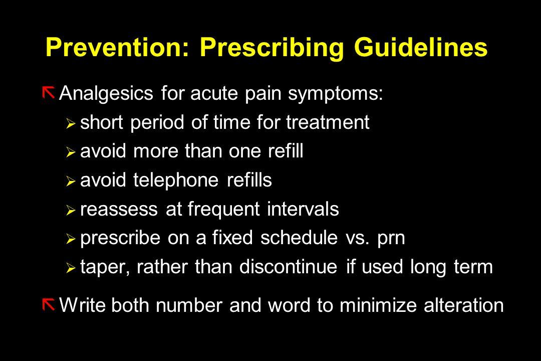 Prevention: Prescribing Guidelines