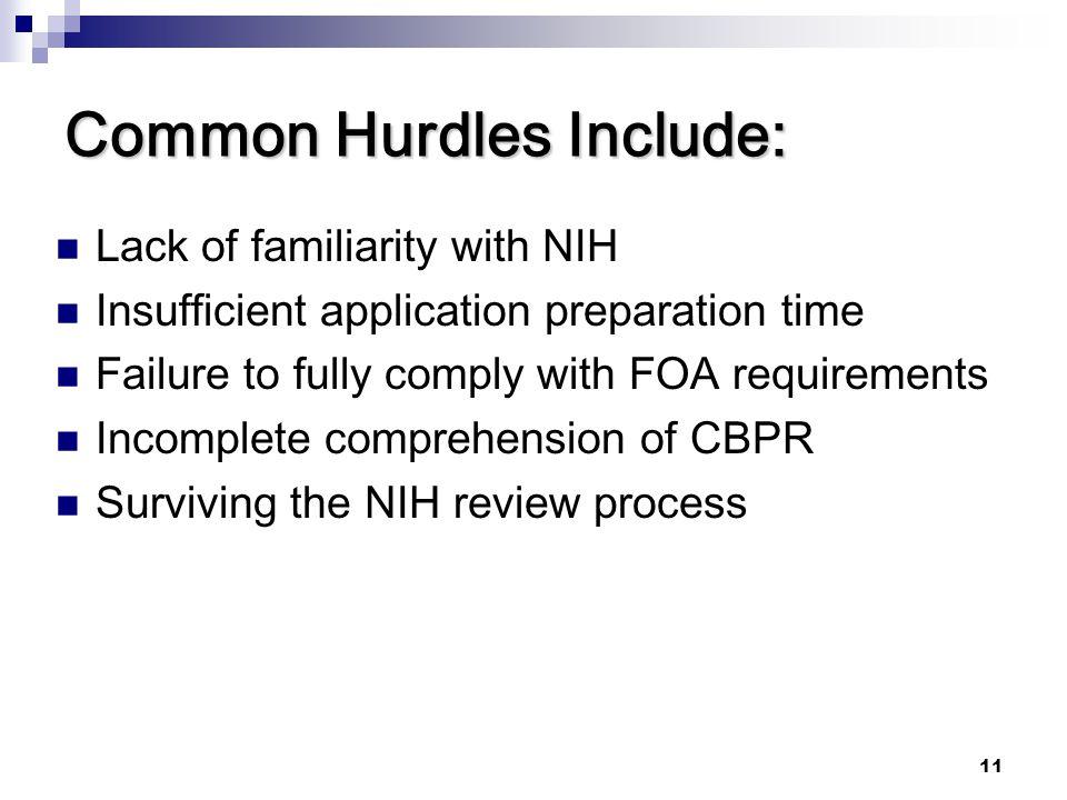 Common Hurdles Include: