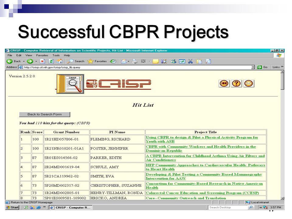 Successful CBPR Projects