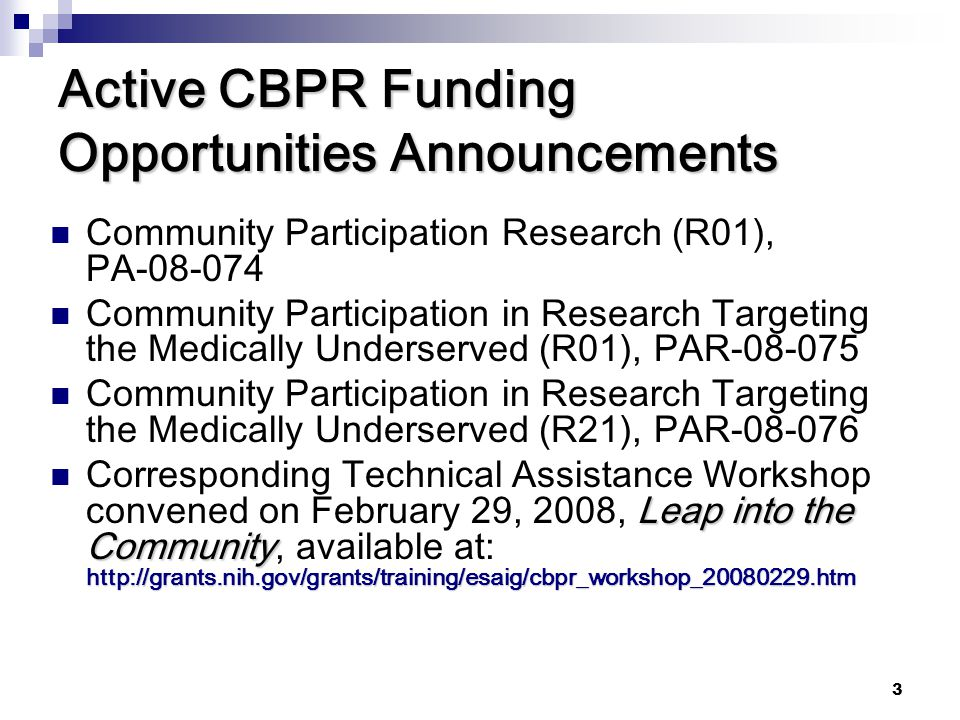 Active CBPR Funding Opportunities Announcements