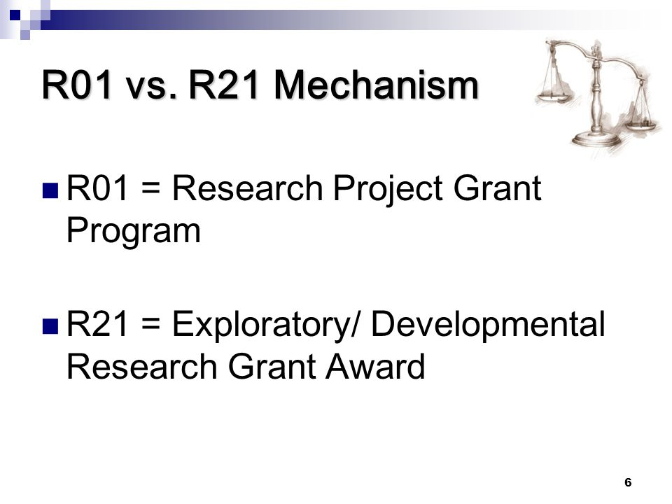 R01 vs. R21 Mechanism R01 = Research Project Grant Program