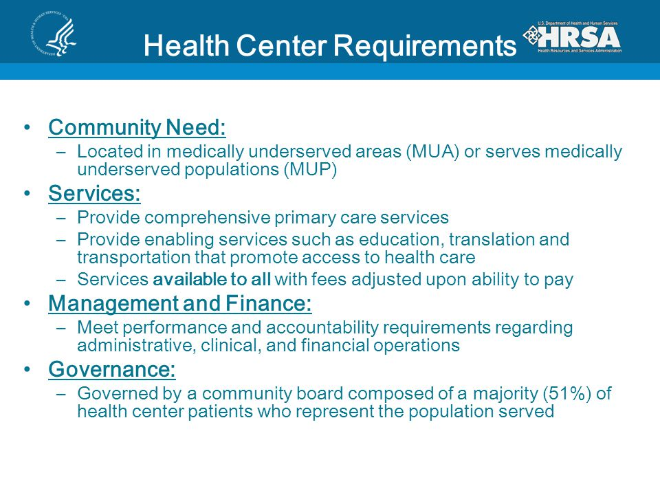 Health Center Requirements