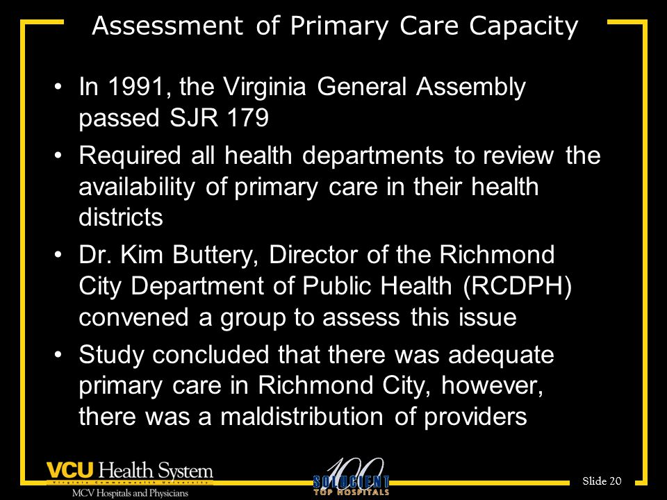 Assessment of Primary Care Capacity