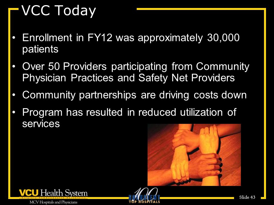 VCC Today Enrollment in FY12 was approximately 30,000 patients