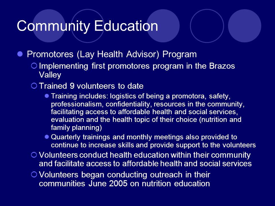 Community Education Promotores (Lay Health Advisor) Program