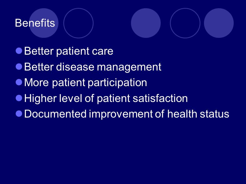 Benefits Better patient care. Better disease management. More patient participation. Higher level of patient satisfaction.