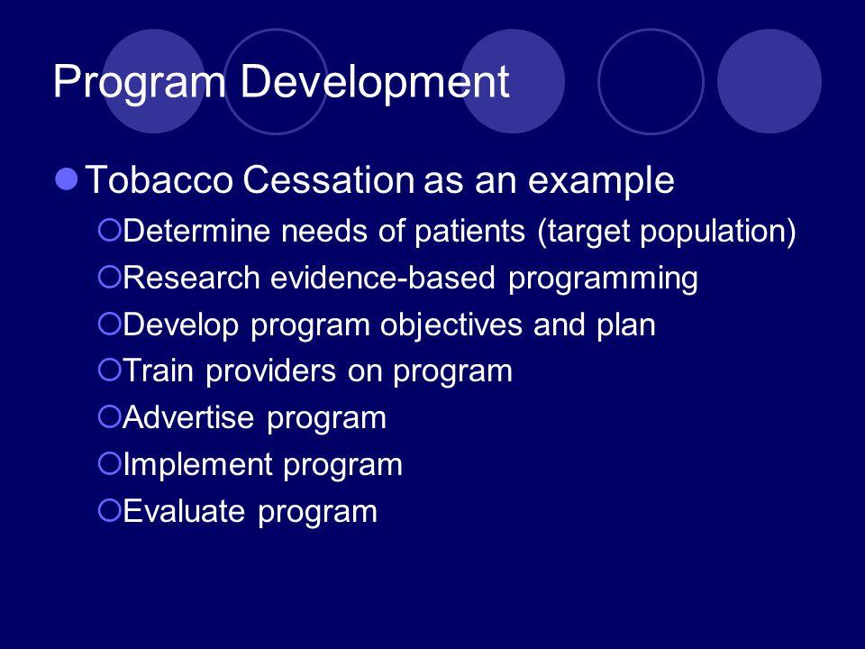 Program Development Tobacco Cessation as an example