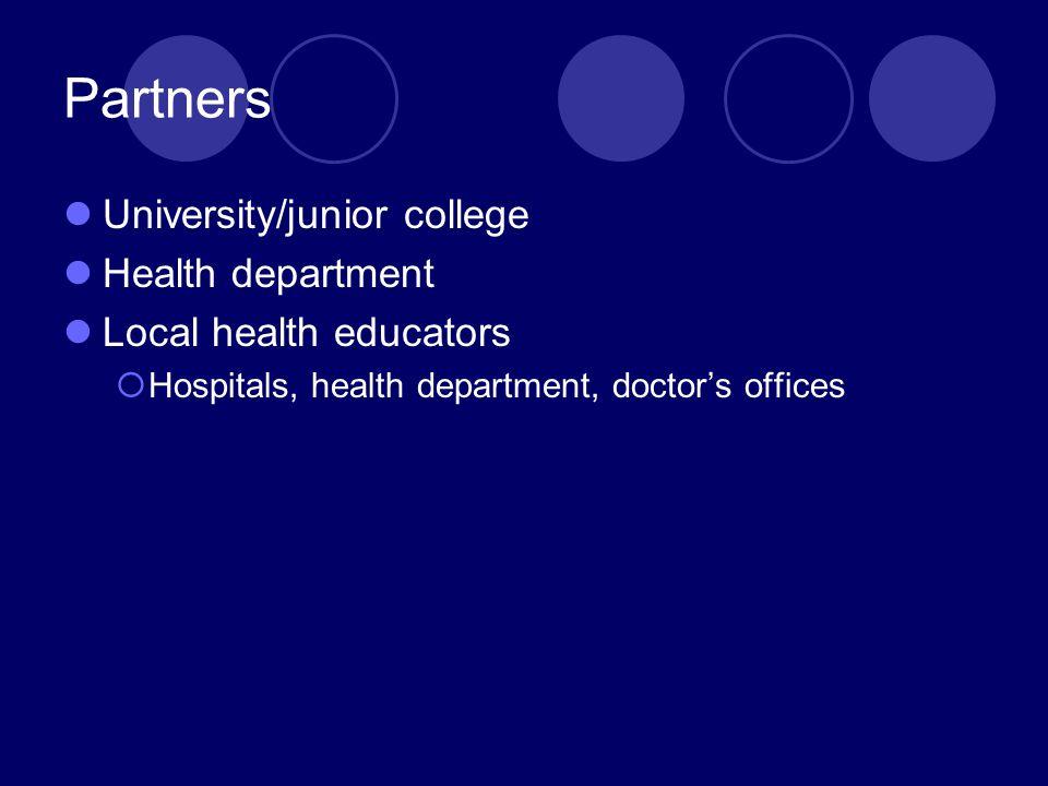 Partners University/junior college Health department