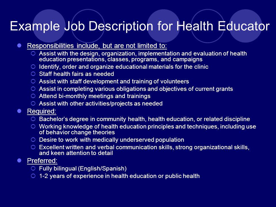 Example Job Description for Health Educator
